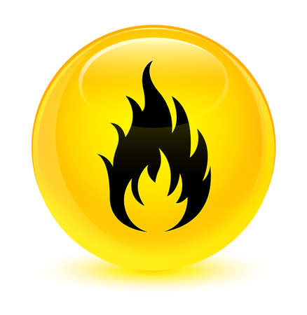 Fire icon isolated on glassy yellow round button abstract illustration