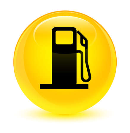 Fuel dispenser icon isolated on glassy yellow round button abstract illustration Stock Photo