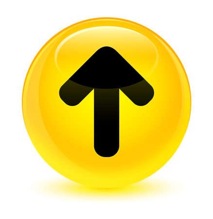 Upload arrow icon isolated on glassy yellow round button abstract illustration Standard-Bild