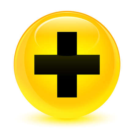 medical illustration: Plus icon isolated on glassy yellow round button abstract illustration Stock Photo