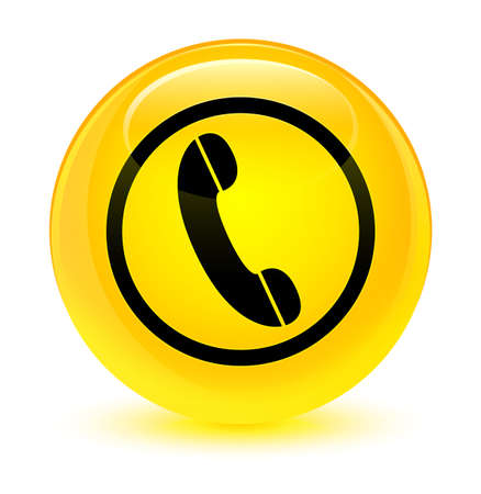 Phone icon isolated on glassy yellow round button abstract illustration