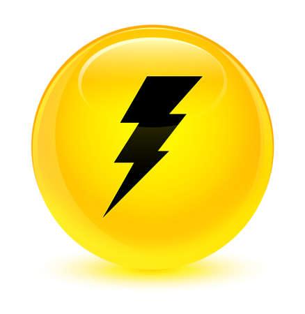 電気アイコン ボタンの抽象的なイラスト ラウンド ガラス黄色の分離 写真素材