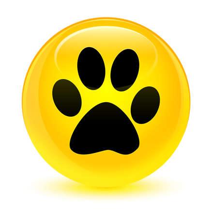 footmark: Animal footprint icon isolated on glassy yellow round button abstract illustration Stock Photo