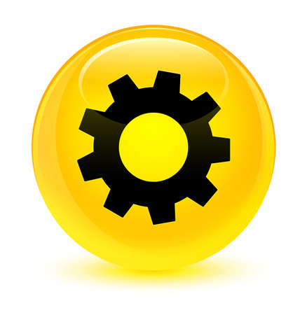 Process icon isolated on glassy yellow round button abstract illustration Stock Photo