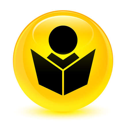 Elearning icon isolated on glassy yellow round button abstract illustration Foto de archivo