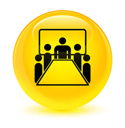 board: Meeting room icon isolated on glassy yellow round button abstract illustration