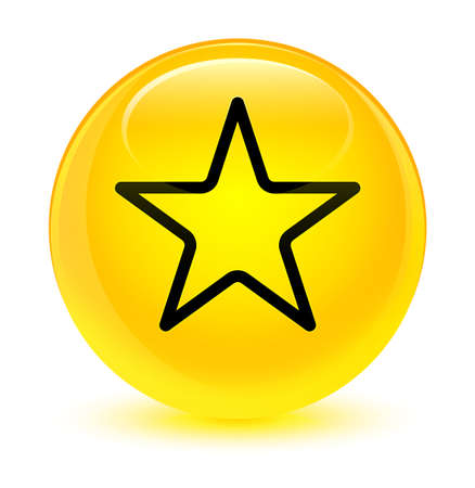 star: Star icon isolated on glassy yellow round button abstract illustration Stock Photo