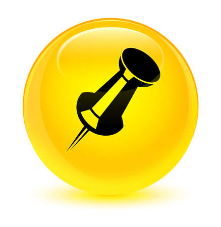 Push pin icon isolated on glassy yellow round button abstract illustration