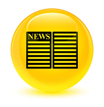 Newspaper icon isolated on glassy yellow round button abstract illustration
