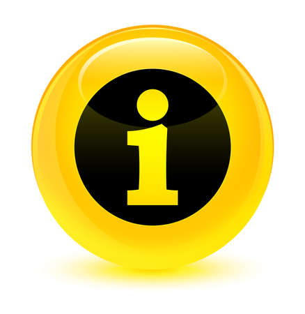 Info icon isolated on glassy yellow round button abstract illustration