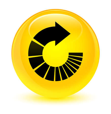 Rotate arrow icon isolated on glassy yellow round button abstract illustration