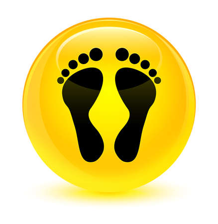 Footprint icon isolated on glassy yellow round button abstract illustration