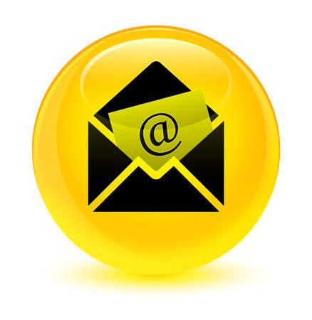 Newsletter email icon isolated on glassy yellow round button abstract illustration