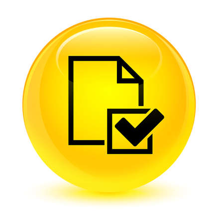 report icon: Checklist icon isolated on glassy yellow round button abstract illustration