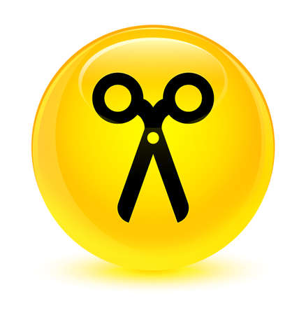 icon: Scissors icon isolated on glassy yellow round button abstract illustration