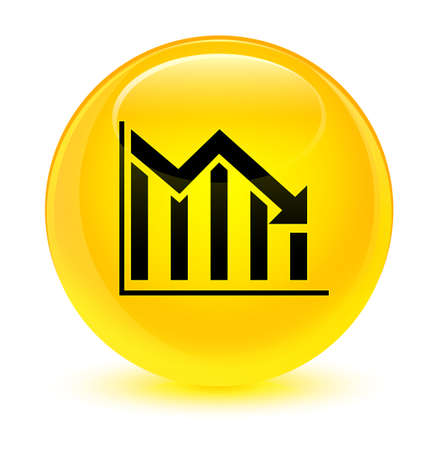 Statistics down icon isolated on glassy yellow round button abstract illustration Stock Photo