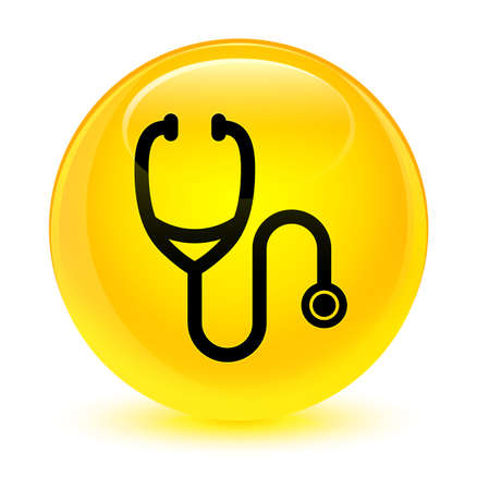 medical illustration: Stethoscope icon isolated on glassy yellow round button abstract illustration
