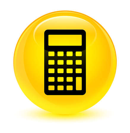 icon: Calculator icon isolated on glassy yellow round button abstract illustration Stock Photo