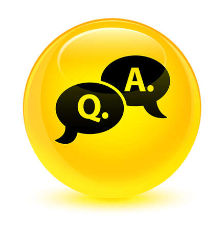 Question answer bubble icon isolated on glassy yellow round button abstract illustration Stock Photo