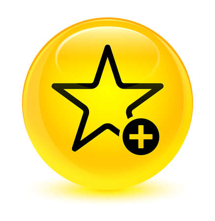 Add to favorite icon isolated on glassy yellow round button abstract illustration Stock Photo