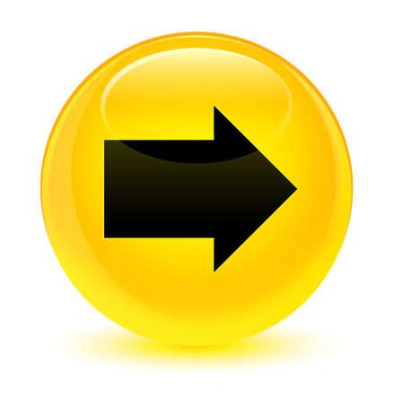 유리 노란색 라운드 단추 추상 그림에서 격리하는 다음 화살표 아이콘