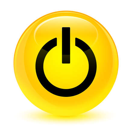 Power icon isolated on glassy yellow round button abstract illustration