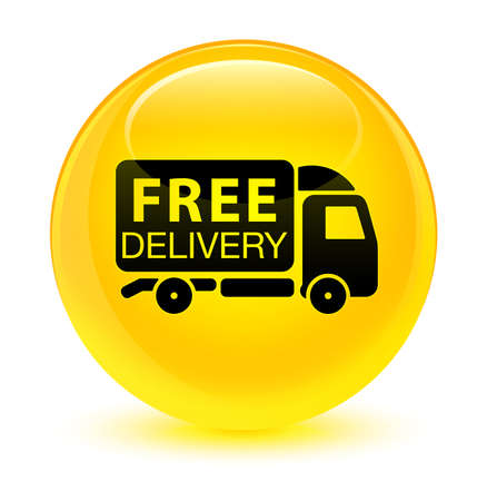 truck: Free delivery truck icon isolated on glassy yellow round button abstract illustration
