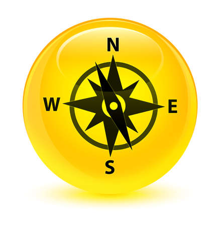 rose: Compass icon isolated on glassy yellow round button abstract illustration Stock Photo