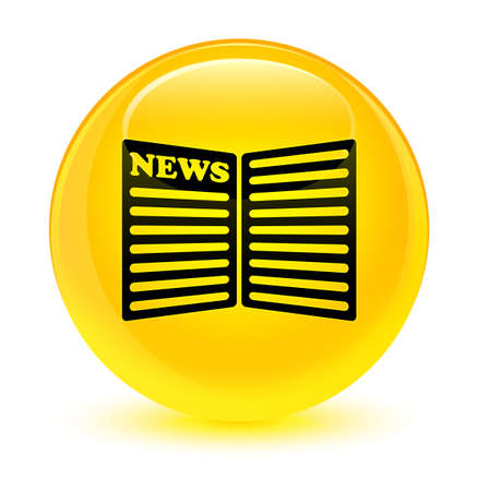 bulletin: Newspaper icon isolated on glassy yellow round button abstract illustration