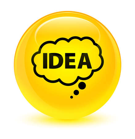 Idea bubble icon isolated on glassy yellow round button abstract illustration