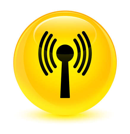 wireless signal: Wlan network icon isolated on glassy yellow round button abstract illustration Stock Photo