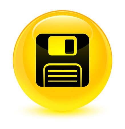 Floppy disk icon isolated on glassy yellow round button abstract illustration