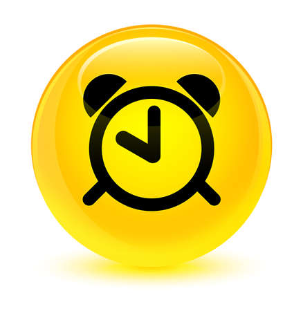 Alarm clock icon isolated on glassy yellow round button abstract illustration Stock Photo