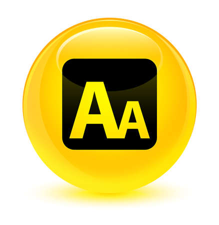 Font size box icon isolated on glassy yellow round button abstract illustration Stock Photo