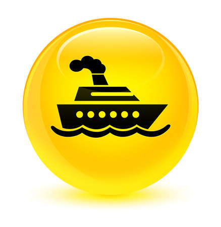 Cruise ship icon isolated on glassy yellow round button abstract illustration