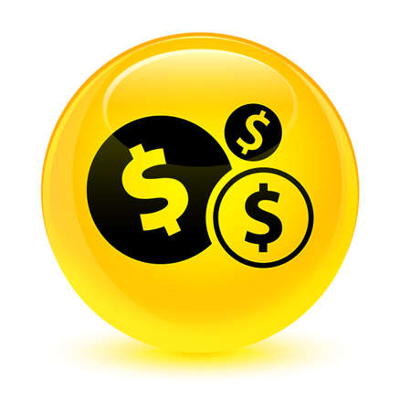 cash: Finances dollar sign icon isolated on glassy yellow round button abstract illustration