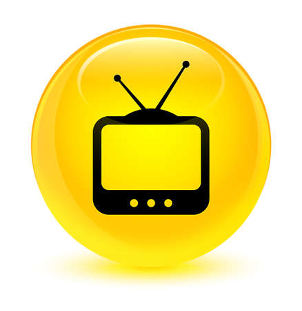 TV  icon isolated on glassy yellow round button abstract illustration