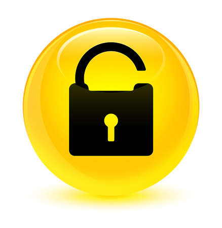 Unlock icon isolated on glassy yellow round button abstract illustration Stock Photo