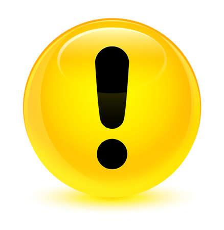 Uitroepteken symbool geïsoleerd op glasachtige gele ronde knop abstracte illustratie