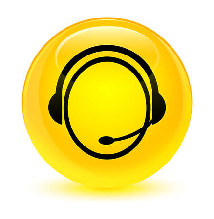 customer: Customer care service icon isolated on glassy yellow round button abstract illustration Stock Photo