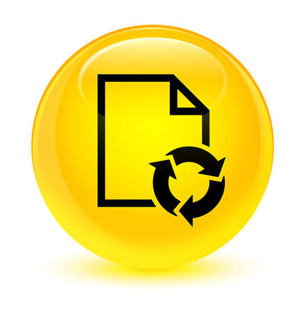 Document process icon isolated on glassy yellow round button abstract illustration
