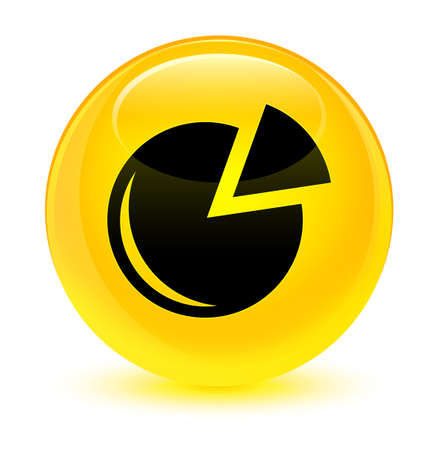 icon: Graph icon isolated on glassy yellow round button abstract illustration