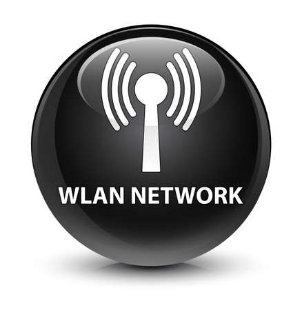 wireless icon: Wlan network isolated on glassy black round button abstract illustration