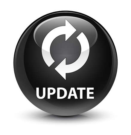 upgrade: Update isolated on glassy black round button abstract illustration