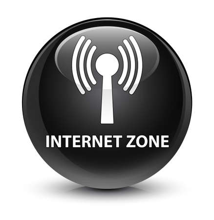 wireless signal: Internet zone (wlan network) isolated on glassy black round button abstract illustration