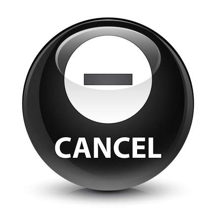 Cancel isolated on glassy black round button abstract illustration