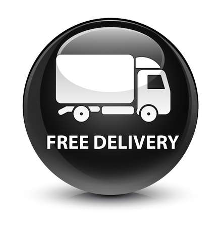 truck: Free delivery isolated on glassy black round button abstract illustration