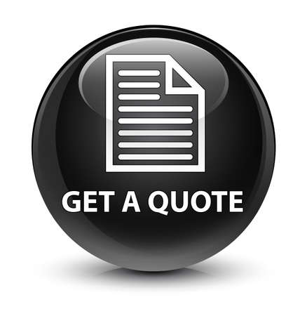 get in shape: Get a quote (page icon) isolated on glassy black round button abstract illustration Stock Photo