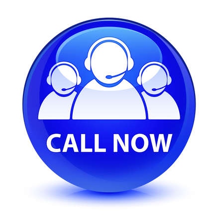 Call now (customer care team icon) isolated on glassy blue round button abstract illustration Imagens
