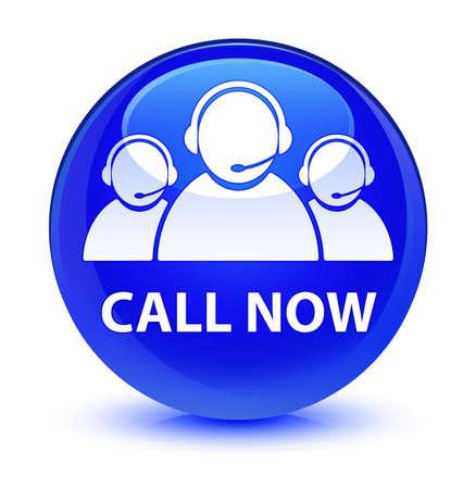 Rufen Sie jetzt (Kundenbetreuung Team-Symbol) isoliert auf glasig blau Runde Schaltfläche abstrakte Darstellung Standard-Bild - 81798819